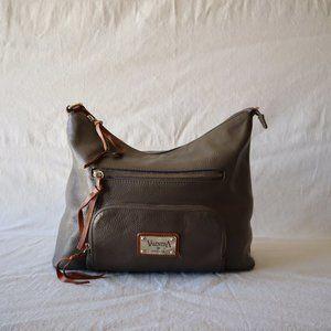 Valentina Gray Leather Shoulder Bag